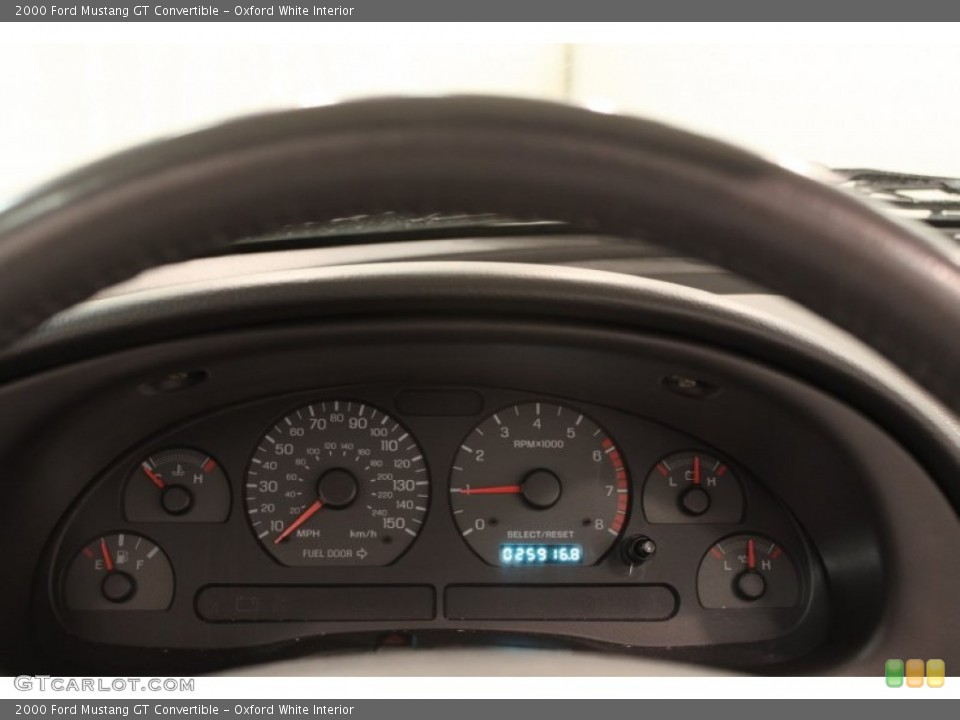 Oxford White Interior Gauges for the 2000 Ford Mustang GT Convertible #72410612