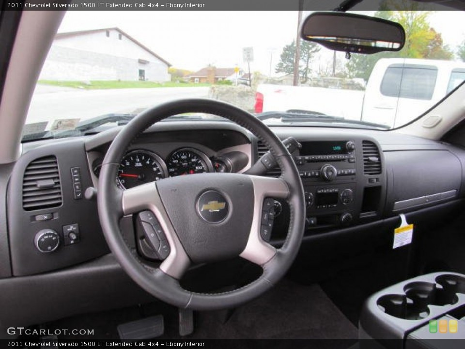 Ebony Interior Dashboard for the 2011 Chevrolet Silverado 1500 LT Extended Cab 4x4 #72648392