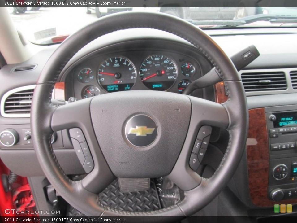 Ebony Interior Steering Wheel for the 2011 Chevrolet Silverado 1500 LTZ Crew Cab 4x4 #75465179
