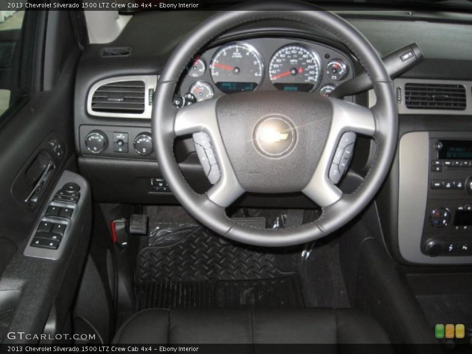 Ebony Interior Steering Wheel for the 2013 Chevrolet Silverado 1500 LTZ Crew Cab 4x4 #75791125