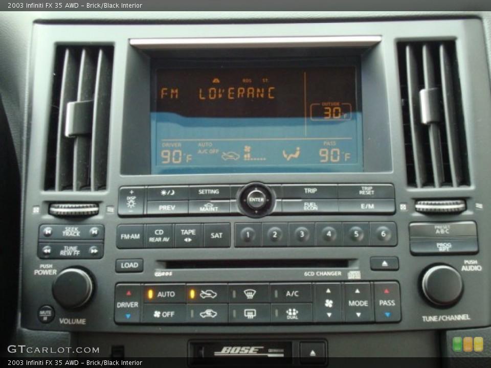 Brick/Black Interior Controls for the 2003 Infiniti FX 35 AWD #76219862