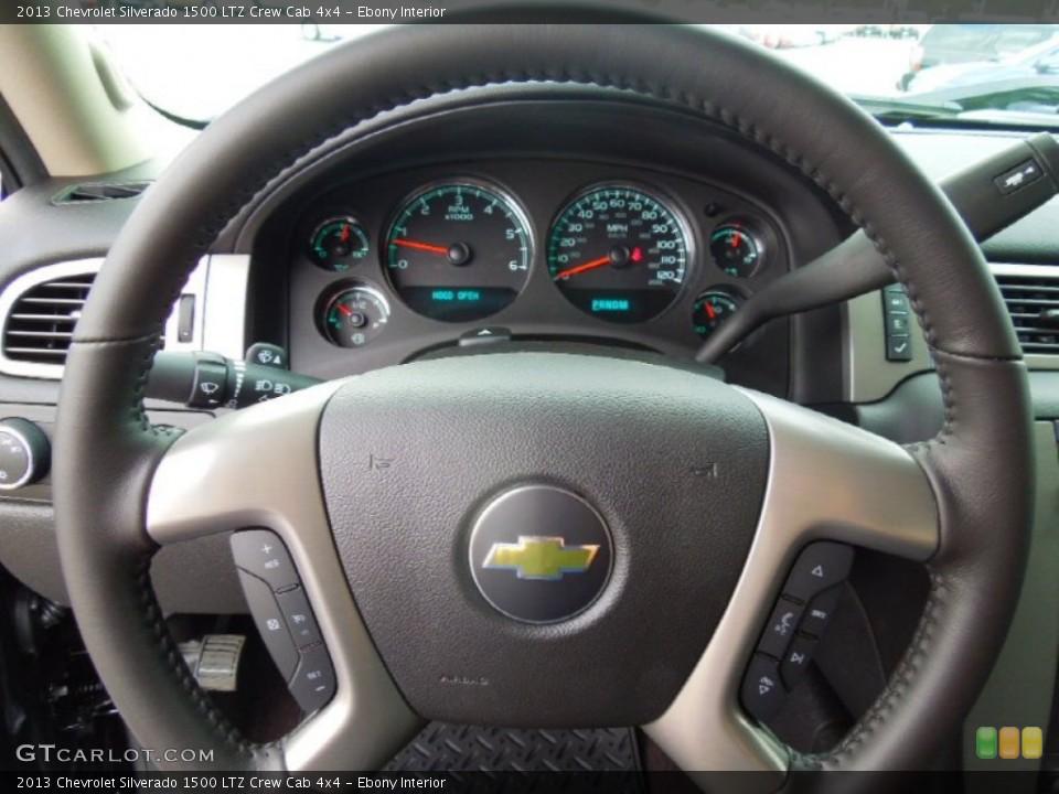 Ebony Interior Steering Wheel for the 2013 Chevrolet Silverado 1500 LTZ Crew Cab 4x4 #76575517