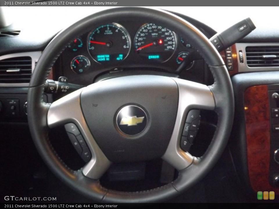 Ebony Interior Steering Wheel for the 2011 Chevrolet Silverado 1500 LTZ Crew Cab 4x4 #76623208