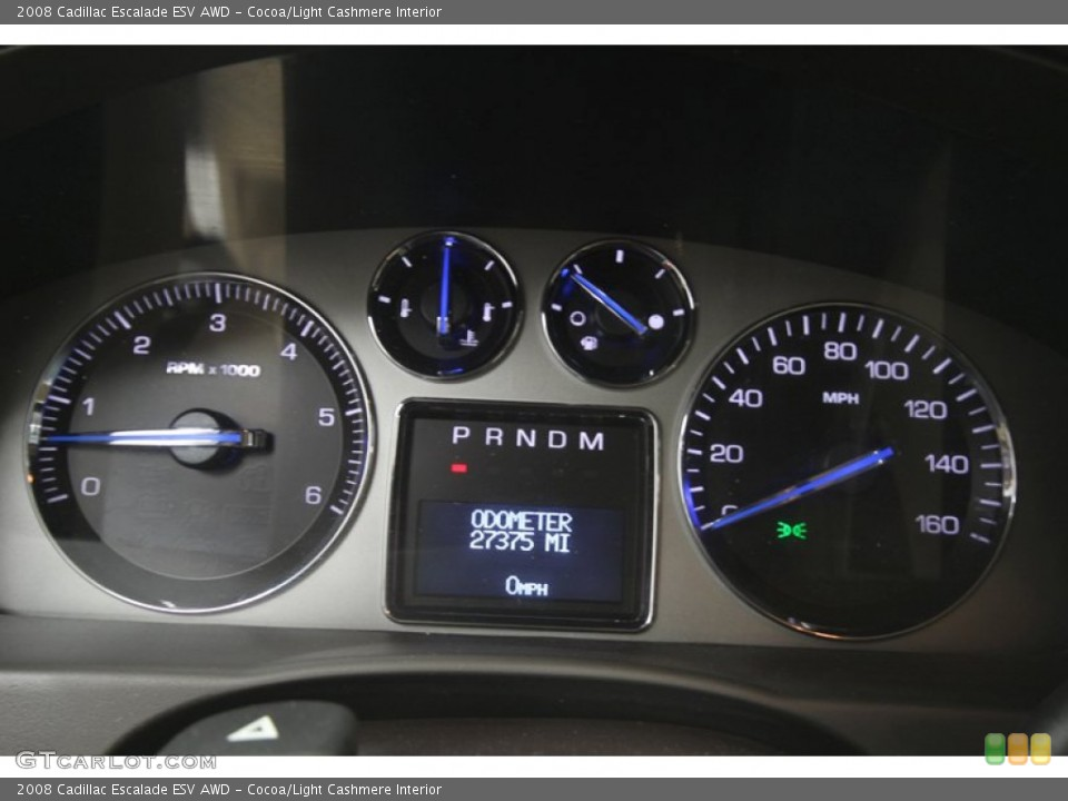 Cocoa/Light Cashmere Interior Gauges for the 2008 Cadillac Escalade ESV AWD #76717072