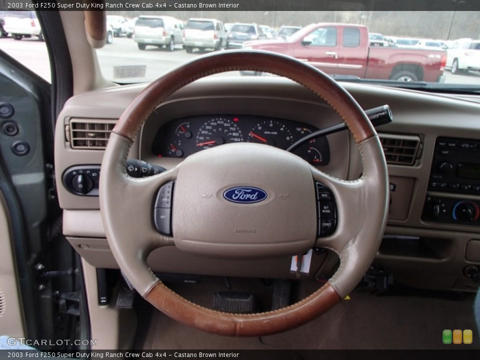 Castano Brown Interior Steering Wheel for the 2003 Ford F250 Super Duty King Ranch Crew Cab 4x4 #78641896