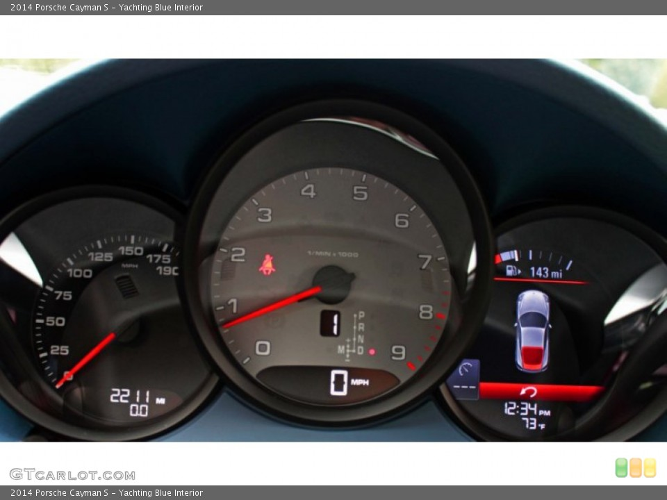 Yachting Blue Interior Gauges for the 2014 Porsche Cayman S