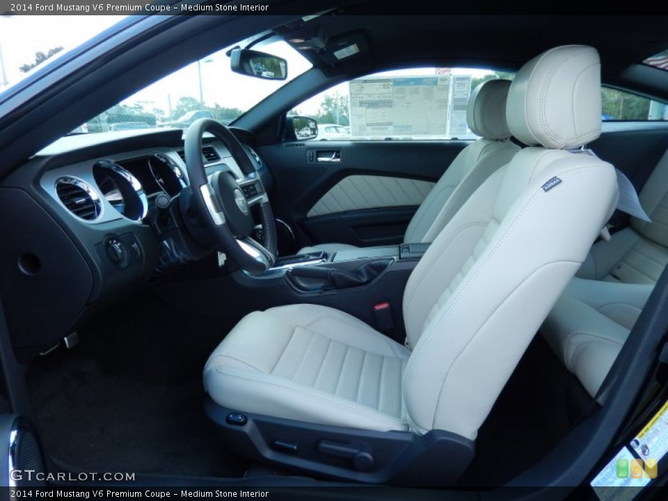 medium stone interior photo for the 2014 ford mustang v6 premium coupe 85601689