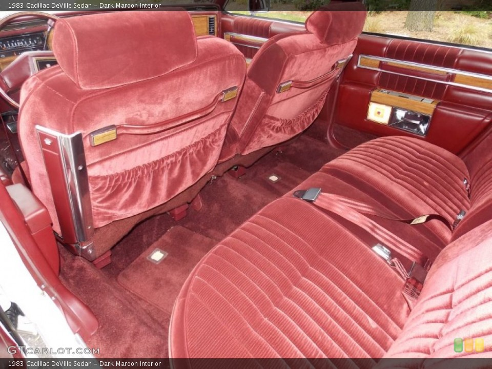 Dark Maroon Interior Rear Seat For The 1983 Cadillac Deville