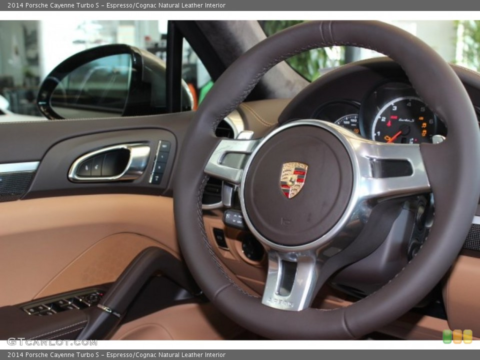 espressocognac natural leather interior steering wheel for the 2014 porsche cayenne turbo s