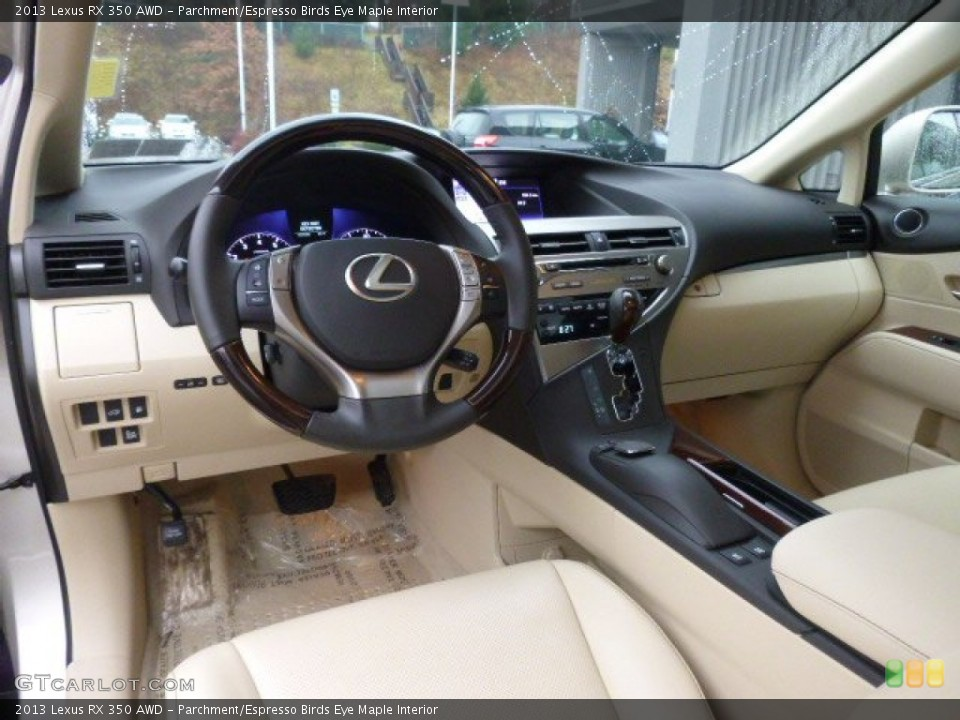 Parchment/Espresso Birds Eye Maple 2013 Lexus RX Interiors