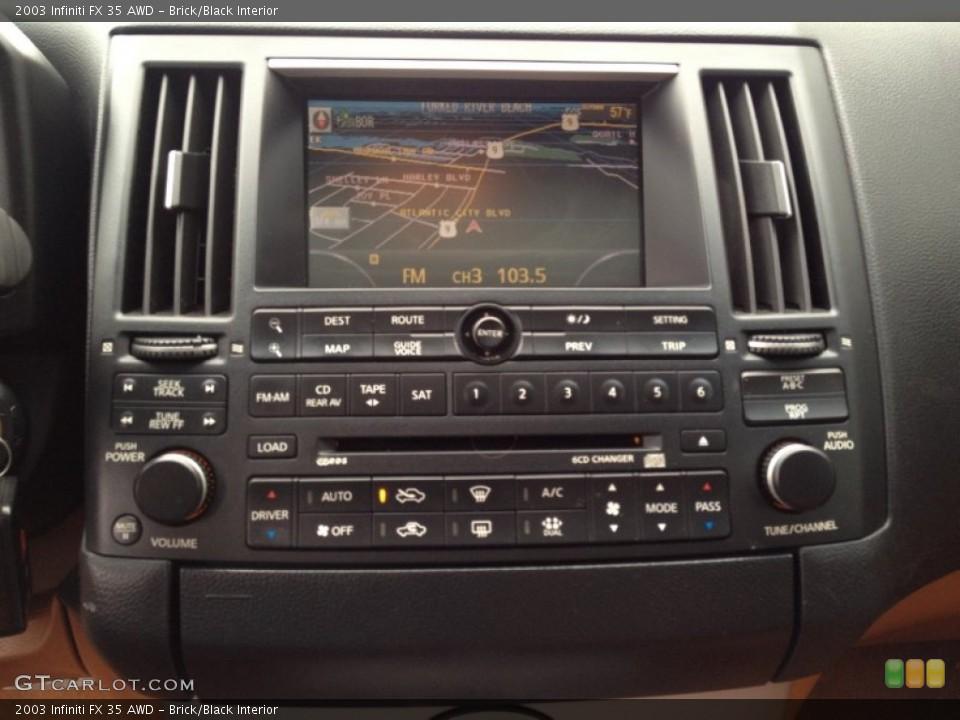 Brick/Black Interior Controls for the 2003 Infiniti FX 35 AWD #93358391