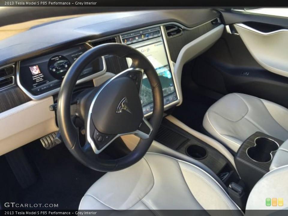 Grey 2013 Tesla Model S Interiors
