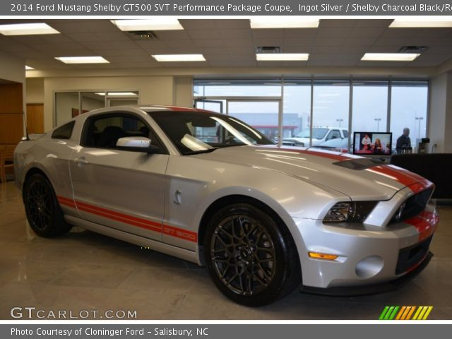ingot silver 2014 ford mustang shelby gt500 svt performance package coupe shelby charcoal. Black Bedroom Furniture Sets. Home Design Ideas