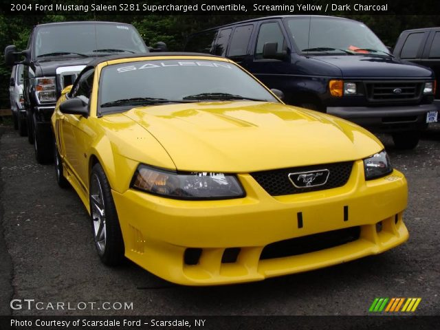 screaming yellow 2004 ford mustang saleen s281 supercharged convertible dark charcoal. Black Bedroom Furniture Sets. Home Design Ideas