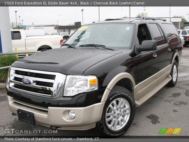 Black 2009 Ford Expedition El Eddie Bauer 4x4 Charcoal Black Leather Camel Interior