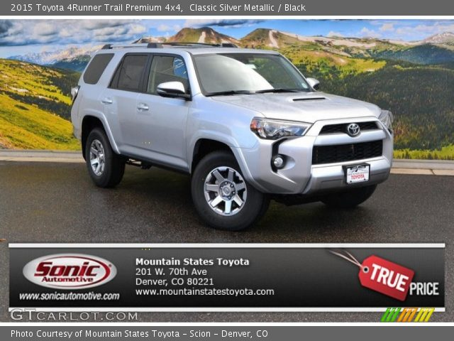 classic silver metallic 2015 toyota 4runner trail premium 4x4 black interior. Black Bedroom Furniture Sets. Home Design Ideas