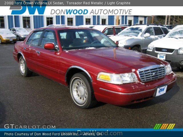 toreador red metallic 2000 ford crown victoria lx sedan light graphite interior gtcarlot. Black Bedroom Furniture Sets. Home Design Ideas