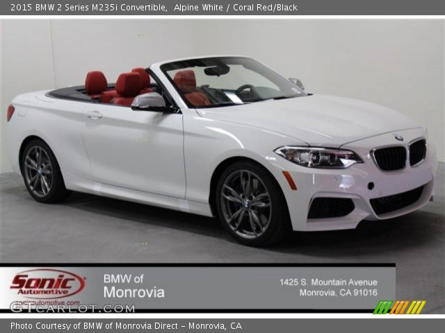 Alpine White 2015 Bmw 2 Series M235i Convertible Coral Red Black Interior