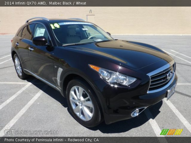 malbec black 2014 infiniti qx70 awd wheat interior