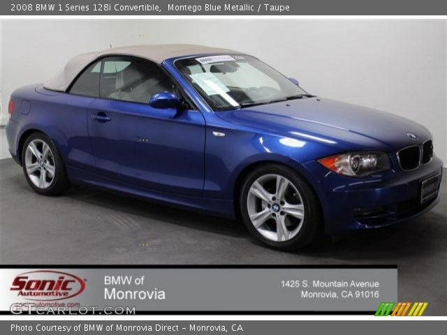 2008 BMW 1 Series 128i Convertible in Montego Blue Metallic