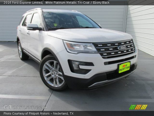 white platinum metallic tri coat 2016 ford explorer limited ebony black interior gtcarlot. Black Bedroom Furniture Sets. Home Design Ideas