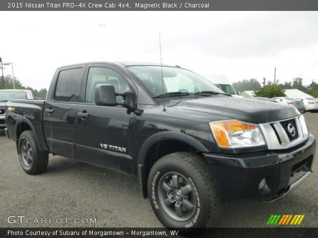magnetic black 2015 nissan titan pro 4x crew cab 4x4 charcoal interior. Black Bedroom Furniture Sets. Home Design Ideas