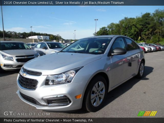 silver ice metallic 2016 chevrolet cruze limited ls jet black medium titanium interior. Black Bedroom Furniture Sets. Home Design Ideas