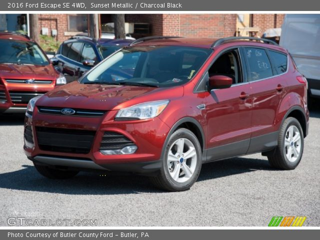 sunset metallic 2016 ford escape se 4wd charcoal black interior vehicle. Black Bedroom Furniture Sets. Home Design Ideas