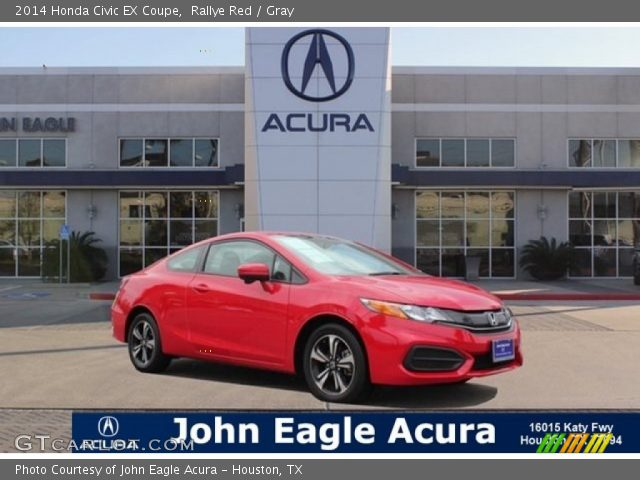 rallye red 2014 honda civic ex coupe gray interior