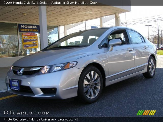 alabaster silver metallic 2009 honda civic ex l sedan gray interior vehicle. Black Bedroom Furniture Sets. Home Design Ideas