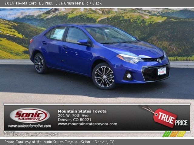blue crush metallic 2016 toyota corolla s plus black. Black Bedroom Furniture Sets. Home Design Ideas