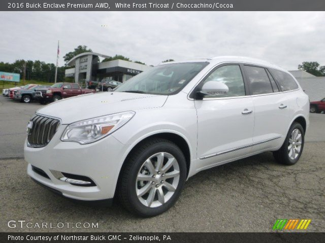 white frost tricoat 2016 buick enclave premium awd choccachino cocoa interior. Black Bedroom Furniture Sets. Home Design Ideas