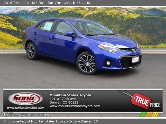 blue crush metallic 2016 toyota corolla s plus steel. Black Bedroom Furniture Sets. Home Design Ideas