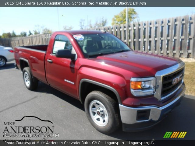 sonoma red metallic 2015 gmc sierra 1500 regular cab jet black dark ash interior gtcarlot. Black Bedroom Furniture Sets. Home Design Ideas