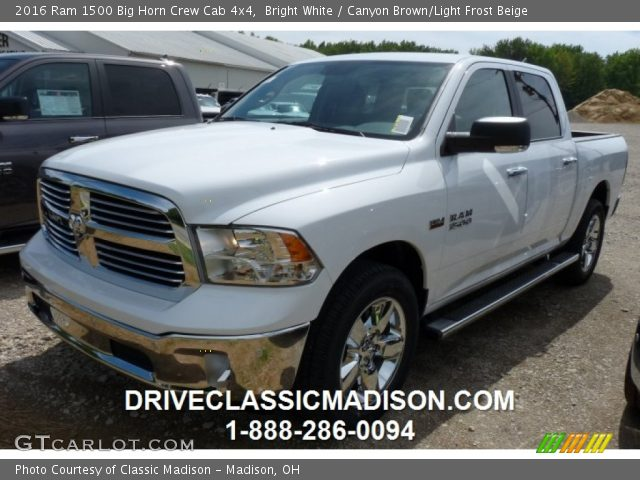 bright white 2016 ram 1500 big horn crew cab 4x4 canyon brown light frost beige interior. Black Bedroom Furniture Sets. Home Design Ideas