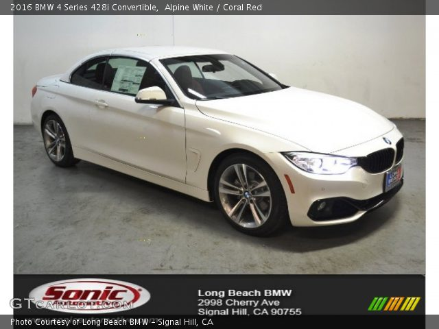 Alpine White 2016 Bmw 4 Series 428i Convertible Coral Red Interior Vehicle