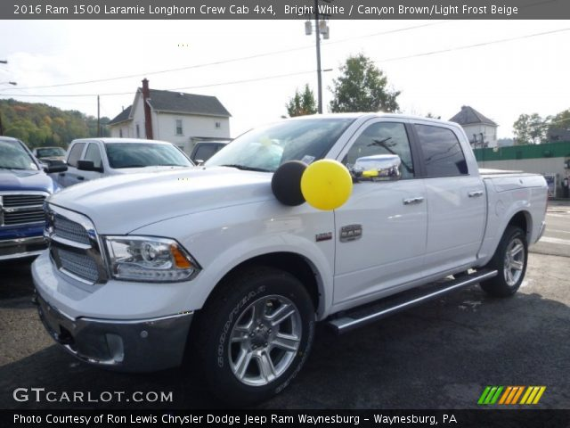 bright white 2016 ram 1500 laramie longhorn crew cab 4x4 canyon brown light frost beige. Black Bedroom Furniture Sets. Home Design Ideas