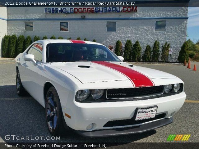 Bright White 2013 Dodge Challenger Sxt Radar Red Dark Slate Gray Interior