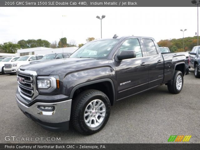 iridium metallic 2016 gmc sierra 1500 sle double cab 4wd jet black interior. Black Bedroom Furniture Sets. Home Design Ideas