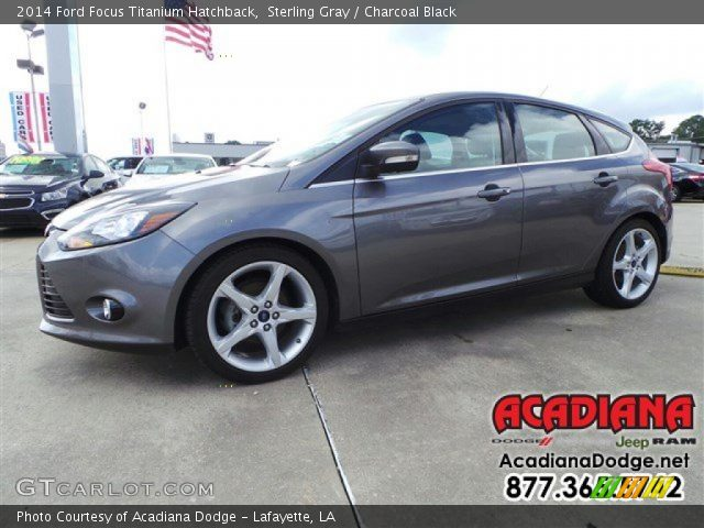 sterling gray 2014 ford focus titanium hatchback charcoal black interior. Black Bedroom Furniture Sets. Home Design Ideas