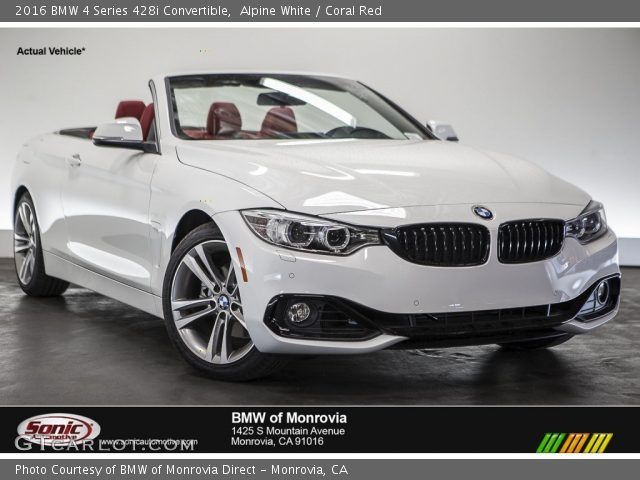 alpine white 2016 bmw 4 series 428i convertible coral red interior vehicle. Black Bedroom Furniture Sets. Home Design Ideas