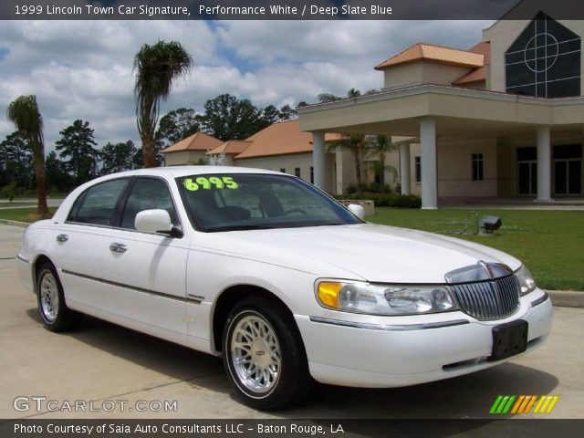 performance white 1999 lincoln town car signature deep slate blue interior. Black Bedroom Furniture Sets. Home Design Ideas