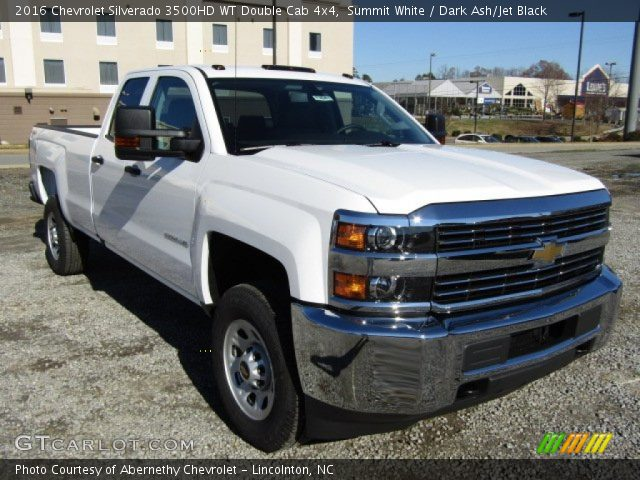 summit white 2016 chevrolet silverado 3500hd wt double cab 4x4 dark ash jet black interior. Black Bedroom Furniture Sets. Home Design Ideas