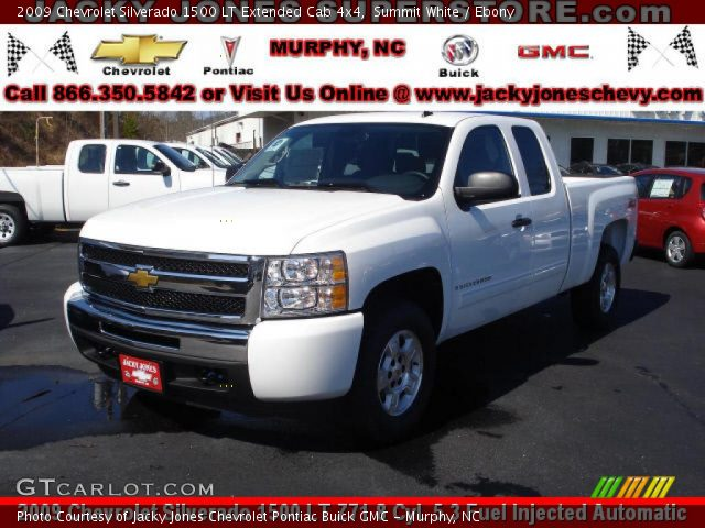 summit white 2009 chevrolet silverado 1500 lt extended cab 4x4 ebony interior. Black Bedroom Furniture Sets. Home Design Ideas