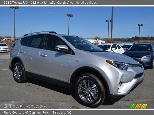 classic silver metallic 2016 toyota rav4 xle hybrid awd black interior. Black Bedroom Furniture Sets. Home Design Ideas