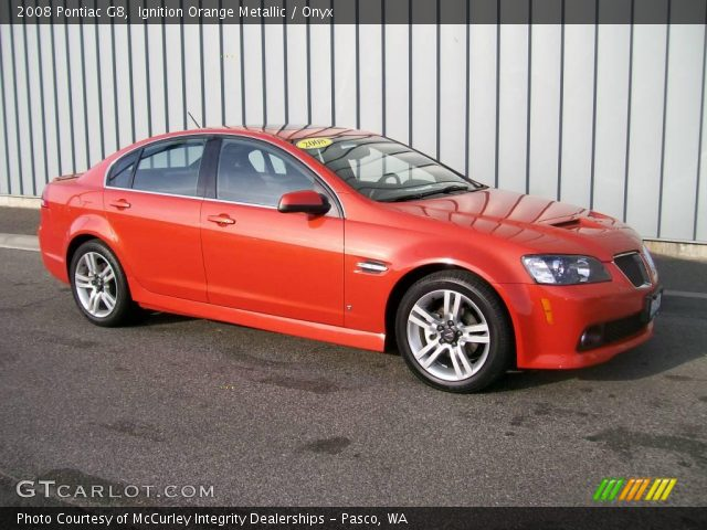 Ignition Orange Metallic 2008 Pontiac G8 Onyx Interior