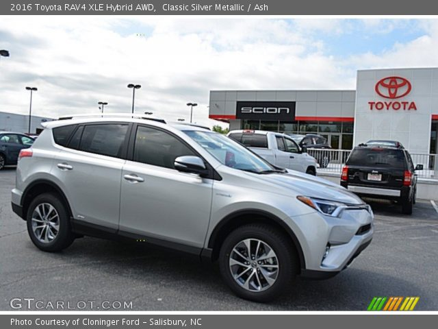 classic silver metallic 2016 toyota rav4 xle hybrid awd ash interior. Black Bedroom Furniture Sets. Home Design Ideas