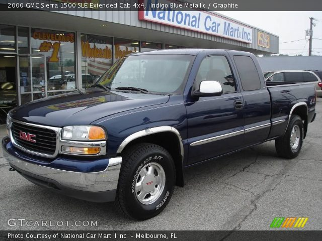 indigo blue metallic 2000 gmc sierra 1500 sle extended cab 4x4 graphite interior gtcarlot. Black Bedroom Furniture Sets. Home Design Ideas