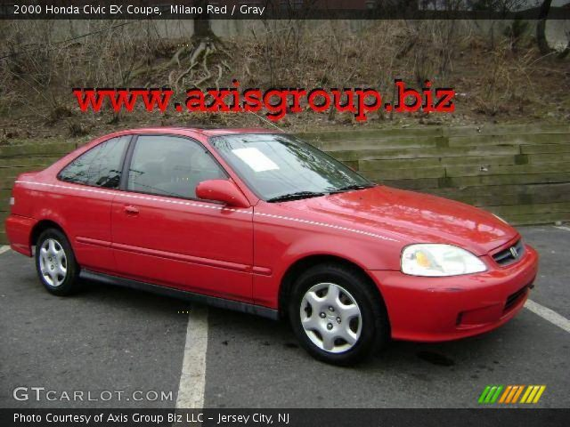 milano red 2000 honda civic ex coupe gray interior vehicle archive 11353219. Black Bedroom Furniture Sets. Home Design Ideas