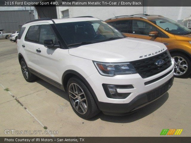 white platinum metallic tri coat 2016 ford explorer sport 4wd ebony black interior. Black Bedroom Furniture Sets. Home Design Ideas